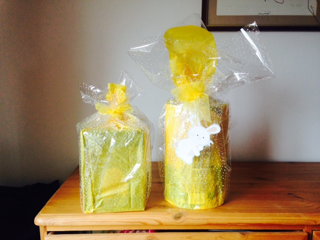 picture of Easter wrapping using Phoenix dotty celllophane wrap