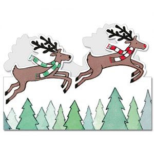 Flying Reindeer Card Design